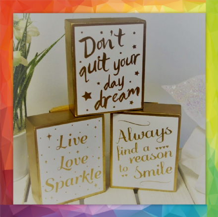 30% OFF 3 Chloe Gold & White Inspirational Block Signs